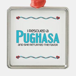 I Rescued a Pughasa (Female) Dog Adoption Design Christmas Tree Ornaments