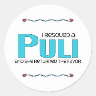 I Rescued a Puli (Female Dog) Round Stickers