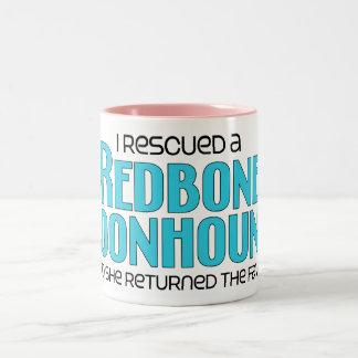 I Rescued a Redbone Coonhound (Female Dog) Two-Tone Coffee Mug