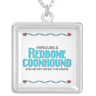 I Rescued a Redbone Coonhound (Male Dog) Square Pendant Necklace
