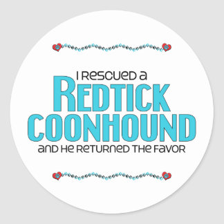 I Rescued a Redtick Coonhound (Male Dog) Classic Round Sticker