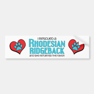 I Rescued a Rhodesian Ridgeback (Female Dog) Bumper Sticker