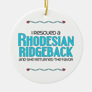 I Rescued a Rhodesian Ridgeback (Female Dog) Double-Sided Ceramic Round Christmas Ornament