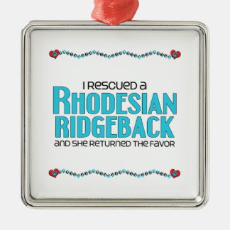 I Rescued a Rhodesian Ridgeback (Female Dog) Square Metal Christmas Ornament