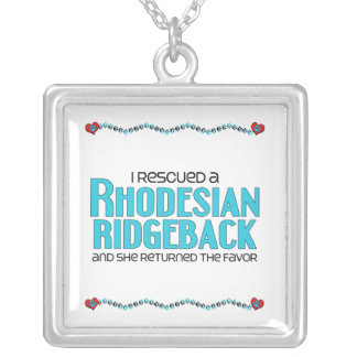 I Rescued a Rhodesian Ridgeback (Female Dog) Square Pendant Necklace