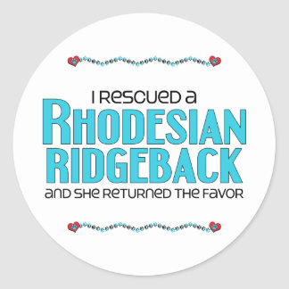 I Rescued a Rhodesian Ridgeback (Female Dog) Round Sticker