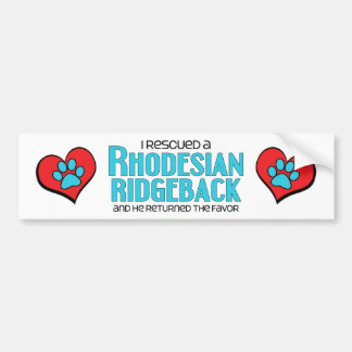 I Rescued a Rhodesian Ridgeback (Male Dog) Bumper Sticker