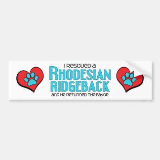I Rescued a Rhodesian Ridgeback (Male Dog) Car Bumper Sticker