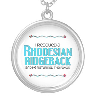 I Rescued a Rhodesian Ridgeback (Male Dog) Round Pendant Necklace