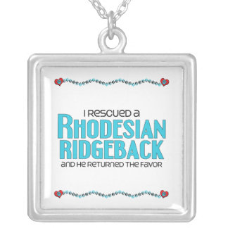 I Rescued a Rhodesian Ridgeback (Male Dog) Square Pendant Necklace