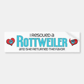 I Rescued a Rottweiler (Female Dog) Bumper Sticker