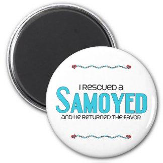 I Rescued a Samoyed (Male Dog) 2 Inch Round Magnet