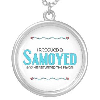 I Rescued a Samoyed (Male Dog) Round Pendant Necklace