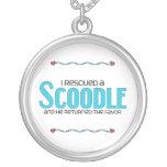 I Rescued a Scoodle (Male) Dog Adoption Design Round Pendant Necklace