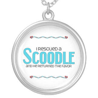 I Rescued a Scoodle (Male) Dog Adoption Design Silver Plated Necklace