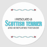 I Rescued a Scottish Terrier (Male Dog) Classic Round Sticker