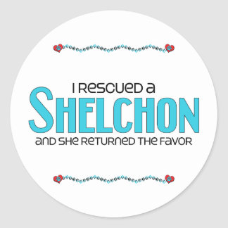 I Rescued a Shelchon (Female) Dog Adoption Design Round Sticker