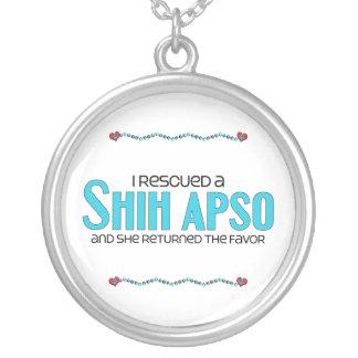 I Rescued a Shih Apso (Female) Dog Adoption Design Round Pendant Necklace