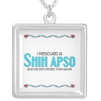 I Rescued a Shih Apso (Male) Dog Adoption Design Square Pendant Necklace