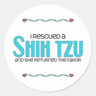 I Rescued a Shih Tzu (Female Dog) Round Stickers