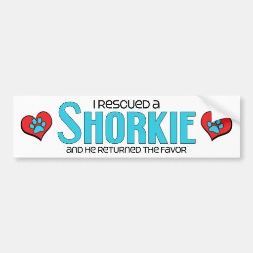 I Rescued a Shorkie (Male) Dog Adoption Design Bumper Stickers