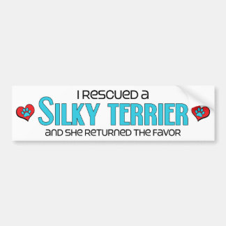 I Rescued a Silky Terrier (Female Dog) Car Bumper Sticker