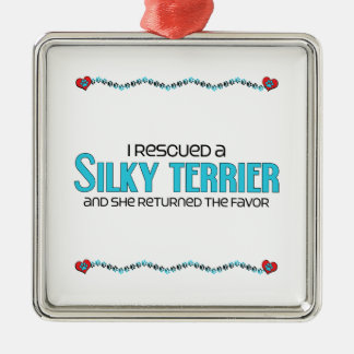 I Rescued a Silky Terrier (Female Dog) Square Metal Christmas Ornament