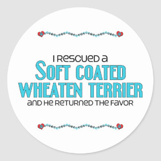 I Rescued a Soft Coated Wheaten Terrier (Male Dog) Round Sticker