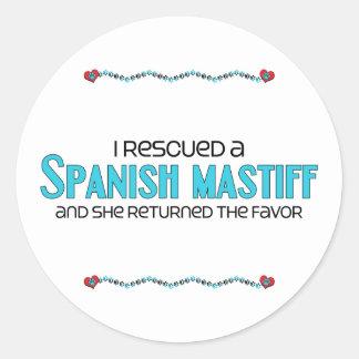 I Rescued a Spanish Mastiff (Female Dog) Classic Round Sticker
