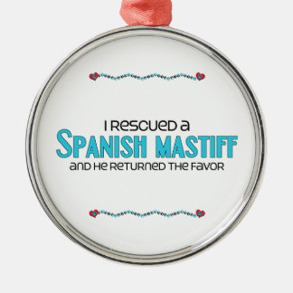 I Rescued a Spanish Mastiff (Male Dog) Round Metal Christmas Ornament