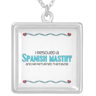 I Rescued a Spanish Mastiff (Male Dog) Square Pendant Necklace
