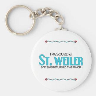 I Rescued a St. Weiler (Female) Dog Adoption Key Chain