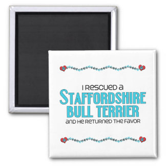 I Rescued a Staffordshire Bull Terrier (Male Dog) 2 Inch Square Magnet