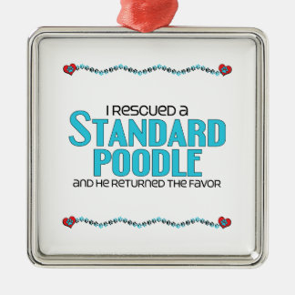 I Rescued a Standard Poodle (Male Dog) Square Metal Christmas Ornament