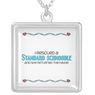 I Rescued a Standard Schnoodle (Female Dog) Square Pendant Necklace