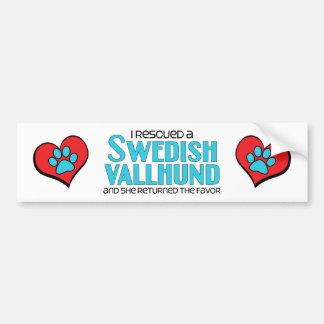 I Rescued a Swedish Vallhund (Female Dog) Car Bumper Sticker