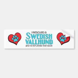 I Rescued a Swedish Vallhund (Male Dog) Car Bumper Sticker