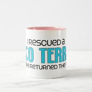 I Rescued a Taco Terrier (Female) Dog Adoption Two-Tone Coffee Mug