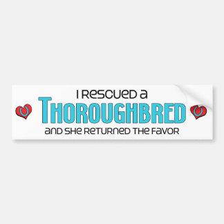 I Rescued a Thoroughbred (Female Horse) Car Bumper Sticker