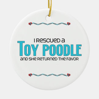 I Rescued a Toy Poodle (Female Dog) Double-Sided Ceramic Round Christmas Ornament