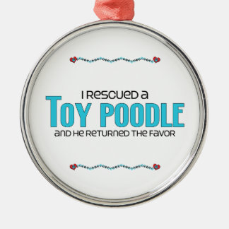 I Rescued a Toy Poodle (Male Dog) Round Metal Christmas Ornament