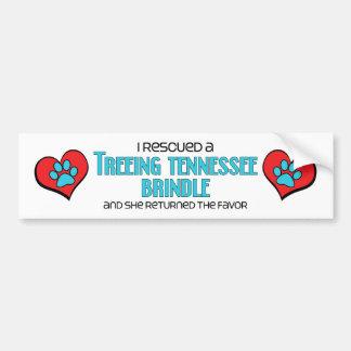 I Rescued a Treeing Tennessee Brindle (Female Dog) Car Bumper Sticker