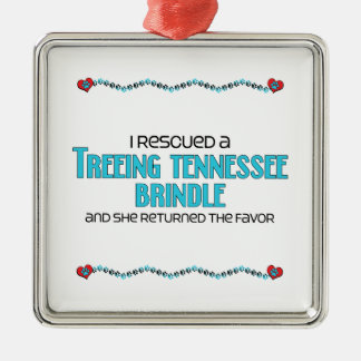 I Rescued a Treeing Tennessee Brindle (Female Dog) Square Metal Christmas Ornament