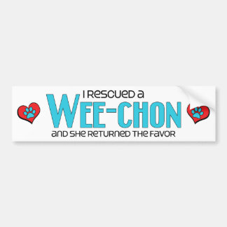 I Rescued a Wee-Chon (Female) Dog Adoption Design Car Bumper Sticker