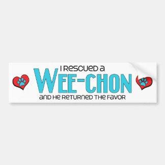I Rescued a Wee-Chon (Male) Dog Adoption Design Car Bumper Sticker