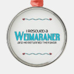 I Rescued a Weimaraner (Male Dog) Christmas Ornaments