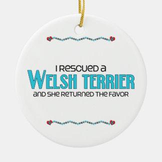 I Rescued a Welsh Terrier (Female Dog) Ceramic Ornament