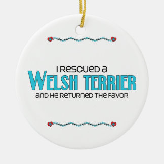 I Rescued a Welsh Terrier (Male Dog) Ceramic Ornament