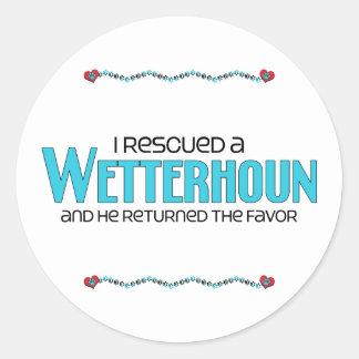 I Rescued a Wetterhoun (Male Dog) Round Sticker