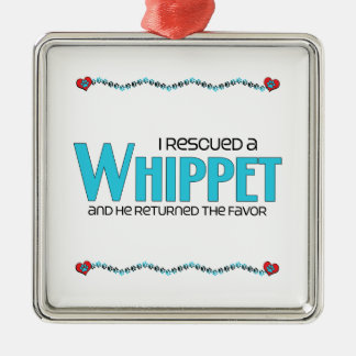 I Rescued a Whippet (Male Dog) Christmas Ornaments